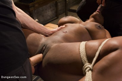Photo number 4 from Voluptuous Ebony Babe is Tied and Fucked with 2 Massive Cocks!! shot for Brutal Sessions on Kink.com. Featuring Owen Gray, Lisa Tiffian and Mickey Mod in hardcore BDSM & Fetish porn.