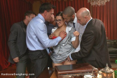 Photo number 8 from Horny Maid distracts Stock Traders, gets them to invest in her holes!! shot for Hardcore Gangbang on Kink.com. Featuring Astral Dust, Mr. Pete, Mickey Mod, Marco Banderas, Bradley Remington  and Penny Barber in hardcore BDSM & Fetish porn.