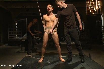 Photo number 10 from Extreme edging with advance bondage positions shot for Men On Edge on Kink.com. Featuring Elijah Wood in hardcore BDSM & Fetish porn.