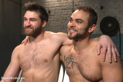 Photo number 15 from Latex - Electricity - Enema - Waders shot for Bound Gods on Kink.com. Featuring Abel Archer and Brock Avery in hardcore BDSM & Fetish porn.