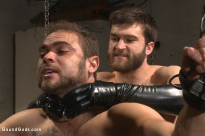 Photo number 12 from Latex - Electricity - Enema - Waders shot for Bound Gods on Kink.com. Featuring Abel Archer and Brock Avery in hardcore BDSM & Fetish porn.