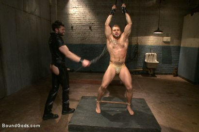 Photo number 5 from Latex - Electricity - Enema - Waders shot for Bound Gods on Kink.com. Featuring Abel Archer and Brock Avery in hardcore BDSM & Fetish porn.