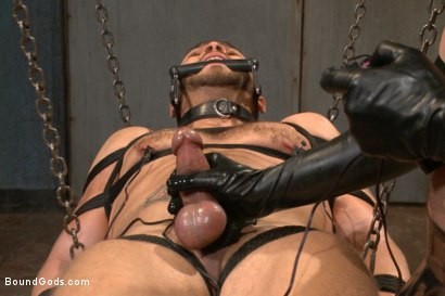 Photo number 6 from Latex - Electricity - Enema - Waders shot for Bound Gods on Kink.com. Featuring Abel Archer and Brock Avery in hardcore BDSM & Fetish porn.