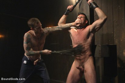 Photo number 5 from Muscle captive submits to the hands of Mr Wilde shot for Bound Gods on Kink.com. Featuring Billy Santoro and Christian Wilde in hardcore BDSM & Fetish porn.