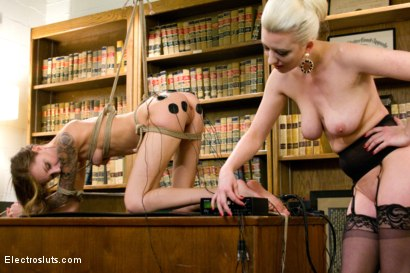 Photo number 16 from Teen Nurse Shocked Into Proper Office Behavior shot for Electro Sluts on Kink.com. Featuring Cherry Torn and Kendra Cole in hardcore BDSM & Fetish porn.