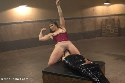 Photo number 14 from Gorgeous big bicep dominatrix wrestles, smothers & dominates slaveboy! shot for Divine Bitches on Kink.com. Featuring Jay West and Mistress Kara in hardcore BDSM & Fetish porn.