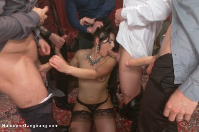 Photo number 8 from Deviant Desire: Fallon provokes the mob to get the gang-bang of her dreams!! shot for Hardcore Gangbang on Kink.com. Featuring John Strong, Gage Sin, Owen Gray, Bill Bailey, Mr. Pete and Fallon West in hardcore BDSM & Fetish porn.