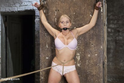 Photo number 2 from Curvy Big Tits Blonde Bombshell Bound and Molested shot for Hogtied on Kink.com. Featuring Christie Stevens in hardcore BDSM & Fetish porn.