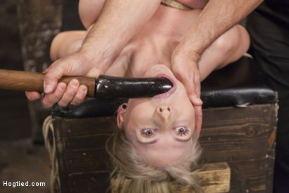 Photo number 7 from Curvy Big Tits Blonde Bombshell Bound and Molested shot for Hogtied on Kink.com. Featuring Christie Stevens in hardcore BDSM & Fetish porn.