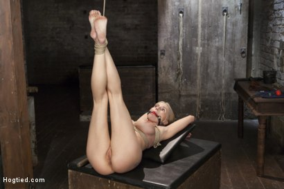 Photo number 8 from Curvy Big Tits Blonde Bombshell Bound and Molested shot for Hogtied on Kink.com. Featuring Christie Stevens in hardcore BDSM & Fetish porn.