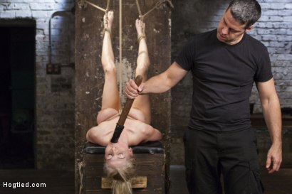 Photo number 6 from Curvy Big Tits Blonde Bombshell Bound and Molested shot for Hogtied on Kink.com. Featuring Christie Stevens in hardcore BDSM & Fetish porn.