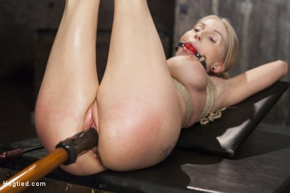 Photo number 9 from Curvy Big Tits Blonde Bombshell Bound and Molested shot for Hogtied on Kink.com. Featuring Christie Stevens in hardcore BDSM & Fetish porn.