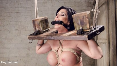 Photo number 7 from Bound Huge Fake Tit MILF shot for Hogtied on Kink.com. Featuring Shay Fox in hardcore BDSM & Fetish porn.