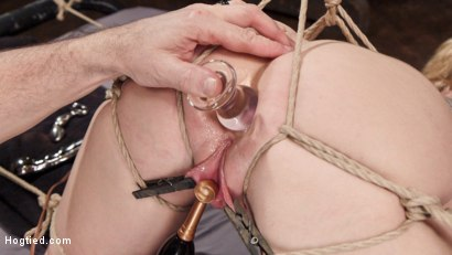 Photo number 3 from Busty Blond MILF molested in ruthless backbends shot for Hogtied on Kink.com. Featuring Dee Williams in hardcore BDSM & Fetish porn.