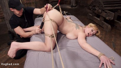 Photo number 4 from Busty Blond MILF molested in ruthless backbends shot for Hogtied on Kink.com. Featuring Dee Williams in hardcore BDSM & Fetish porn.