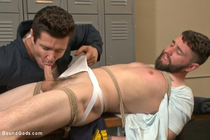 Photo number 4 from Hot Gym Stud Tormented and Fucked by the Creepy Handyman shot for Bound Gods on Kink.com. Featuring Trenton Ducati and Jackson Fillmore in hardcore BDSM & Fetish porn.