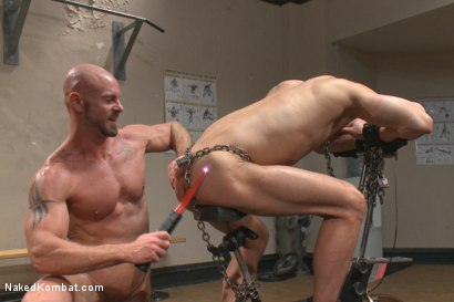 Photo number 13 from Top Cock: Loser takes a hard machine fucking up his ass! shot for Naked Kombat on Kink.com. Featuring Ivan Gregory and Mitch Vaughn in hardcore BDSM & Fetish porn.