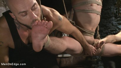 Photo number 12 from Suspended in a center split, helpless uncut stud blows a huge load! shot for Men On Edge on Kink.com. Featuring Jackson Fillmore in hardcore BDSM & Fetish porn.