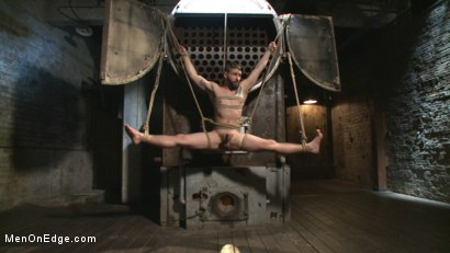 Photo number 11 from Suspended in a center split, helpless uncut stud blows a huge load! shot for Men On Edge on Kink.com. Featuring Jackson Fillmore in hardcore BDSM & Fetish porn.