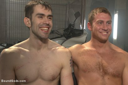 Photo number 15 from Tormented with mousetraps and ass fucked on a motorcycle shot for Bound Gods on Kink.com. Featuring Patrick Isley and Connor Maguire in hardcore BDSM & Fetish porn.