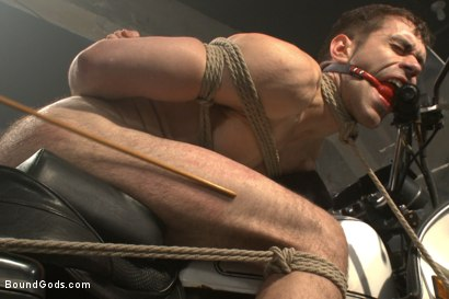 Photo number 10 from Tormented with mousetraps and ass fucked on a motorcycle shot for Bound Gods on Kink.com. Featuring Patrick Isley and Connor Maguire in hardcore BDSM & Fetish porn.