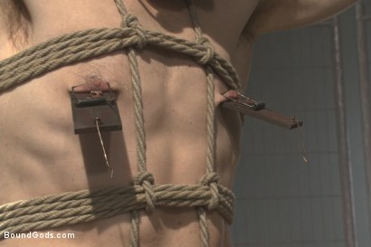 Photo number 7 from Tormented with mousetraps and ass fucked on a motorcycle shot for Bound Gods on Kink.com. Featuring Patrick Isley and Connor Maguire in hardcore BDSM & Fetish porn.
