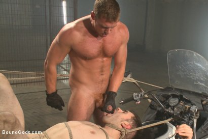 Photo number 14 from Tormented with mousetraps and ass fucked on a motorcycle  shot for Bound Gods on Kink.com. Featuring Patrick Isley and Connor Maguire in hardcore BDSM & Fetish porn.