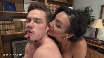 Photo number 5 from Devastatingly Gorgeous Secretary Punishes Sexist Boss Pig! shot for TS Seduction on Kink.com. Featuring Yasmin Lee and Lucas Knight in hardcore BDSM & Fetish porn.