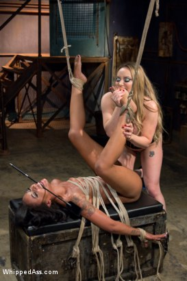 Photo number 6 from Lesbian Abyss: Skin Diamond submits to Her Devious Lesbian Desires shot for Whipped Ass on Kink.com. Featuring Aiden Starr, Skin Diamond and Maitresse Madeline Marlowe in hardcore BDSM & Fetish porn.