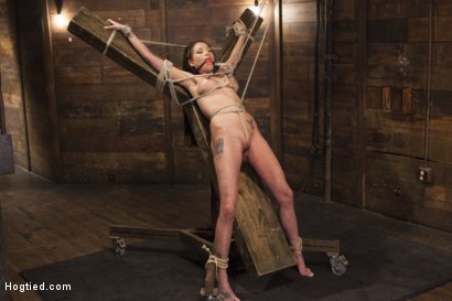 Photo number 13 from Big tit Brunette caught in brutal bondage. shot for Hogtied on Kink.com. Featuring Sgt. Major and Raven Bay in hardcore BDSM & Fetish porn.