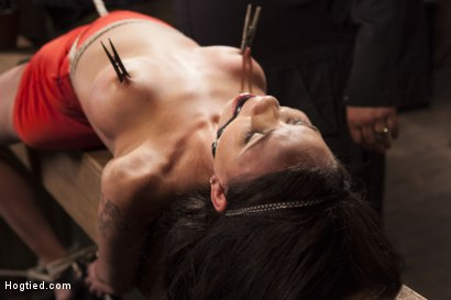 Photo number 15 from Big tit Brunette caught in brutal bondage. shot for Hogtied on Kink.com. Featuring Sgt. Major and Raven Bay in hardcore BDSM & Fetish porn.
