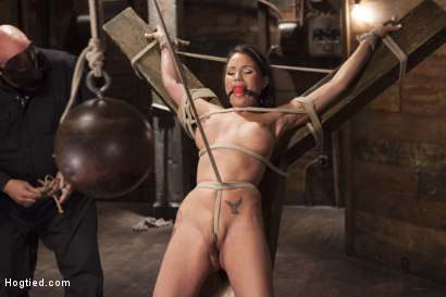 Photo number 4 from Big tit Brunette caught in brutal bondage. shot for Hogtied on Kink.com. Featuring Sgt. Major and Raven Bay in hardcore BDSM & Fetish porn.