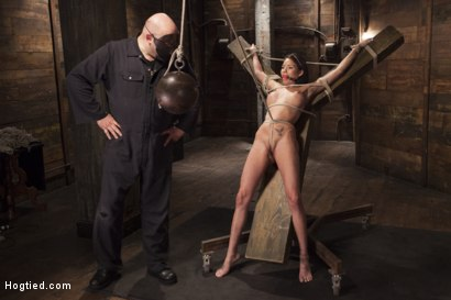 Photo number 5 from Big tit Brunette caught in brutal bondage. shot for Hogtied on Kink.com. Featuring Sgt. Major and Raven Bay in hardcore BDSM & Fetish porn.