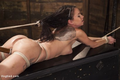Photo number 8 from Big tit Brunette caught in brutal bondage. shot for Hogtied on Kink.com. Featuring Sgt. Major and Raven Bay in hardcore BDSM & Fetish porn.