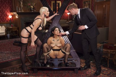 Photo number 5 from Bossy Bitch Governess, the Slave Girl and the Butler shot for The Upper Floor on Kink.com. Featuring Bill Bailey, Lorelei Lee and Adley Rose in hardcore BDSM & Fetish porn.
