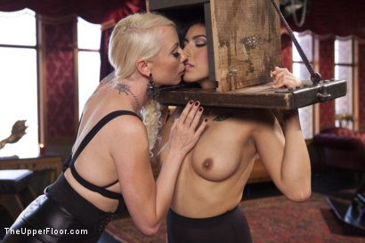 Photo number 2 from Bossy Bitch Governess, the Slave Girl and the Butler shot for The Upper Floor on Kink.com. Featuring Bill Bailey, Lorelei Lee and Adley Rose in hardcore BDSM & Fetish porn.