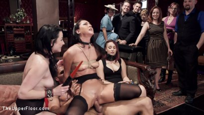 Photo number 12 from Twin Set of Raven Haired Slaves Service Brunch Guests  shot for The Upper Floor on Kink.com. Featuring Karlo Karrera, Veruca James and Sabrina Banks in hardcore BDSM & Fetish porn.