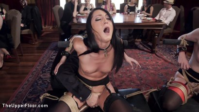 Photo number 4 from Twin Set of Raven Haired Slaves Service Brunch Guests  shot for The Upper Floor on Kink.com. Featuring Karlo Karrera, Veruca James and Sabrina Banks in hardcore BDSM & Fetish porn.