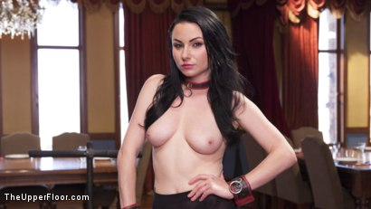 Photo number 2 from Twin Set of Raven Haired Slaves Service Brunch Guests  shot for The Upper Floor on Kink.com. Featuring Karlo Karrera, Veruca James and Sabrina Banks in hardcore BDSM & Fetish porn.
