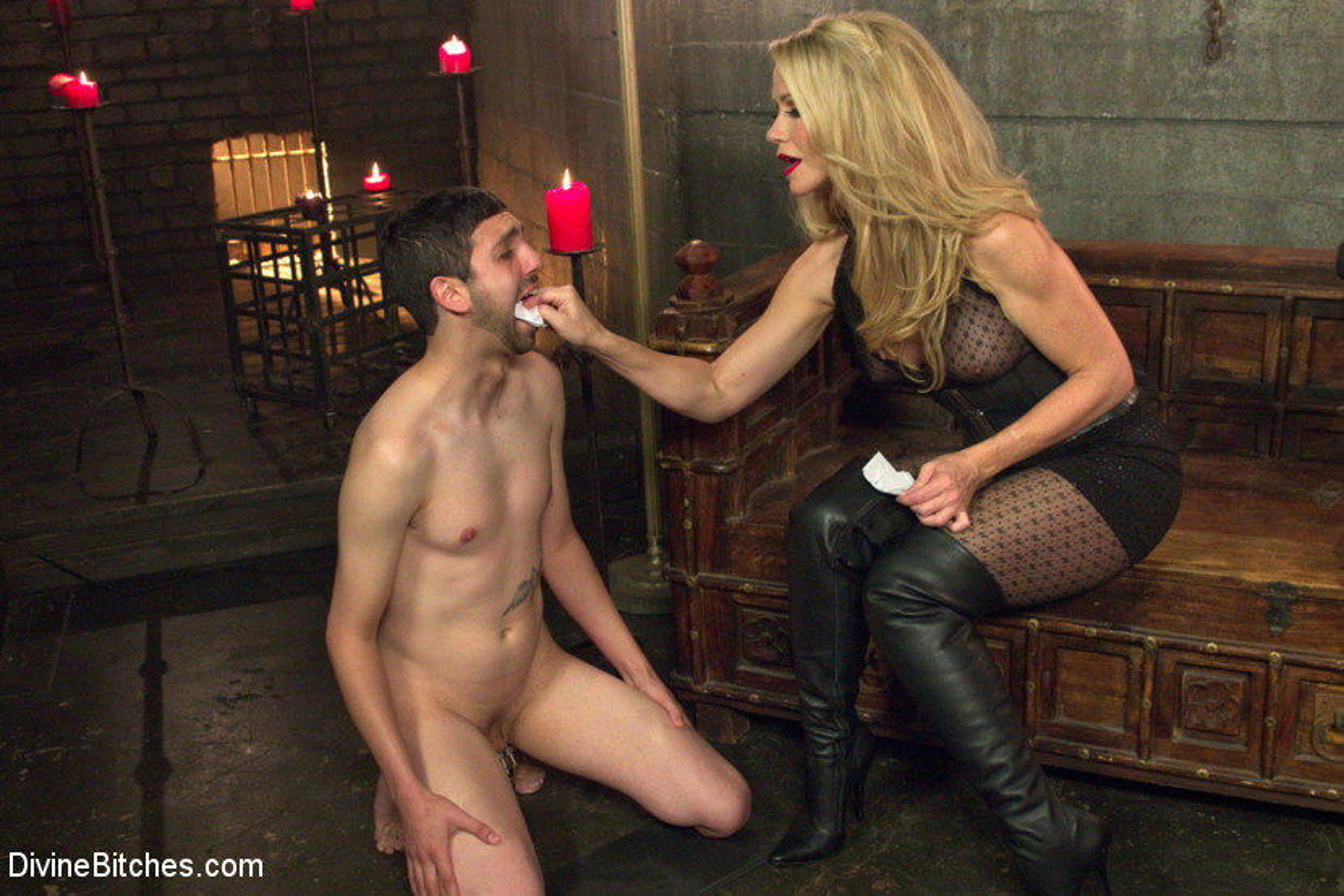 image Mistress foot fucks a slave
