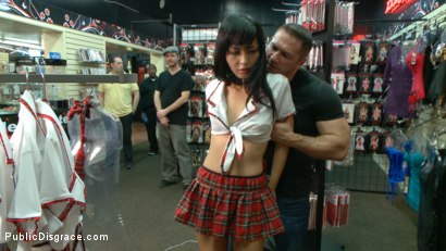 Photo number 3 from Japanese Whore Publicly Fucked in Dirty Movie Theater shot for Public Disgrace on Kink.com. Featuring Marica Hase and John Strong in hardcore BDSM & Fetish porn.