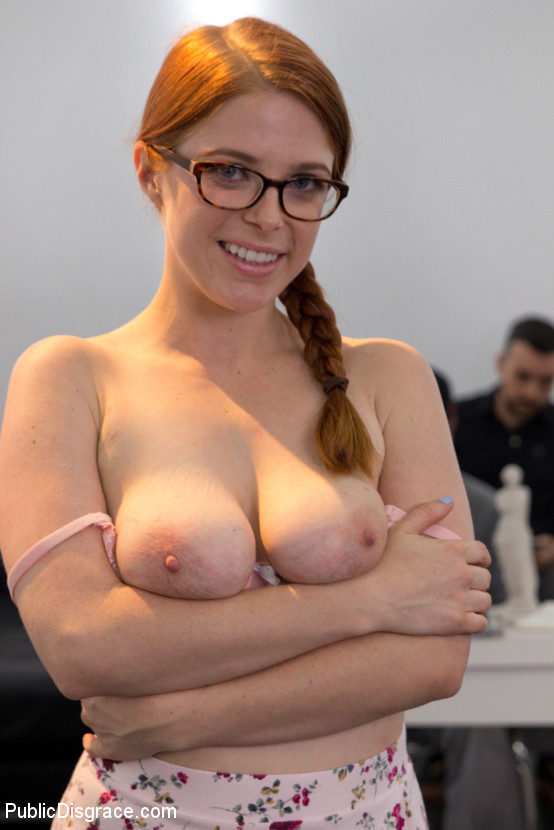 A blindfolded ginger lea gets a load of cum on her face 1