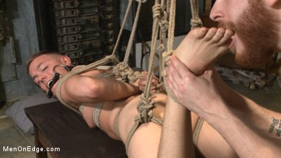 Photo number 8 from Smug techie gets taught a lesson while relentlessly edged in mid-air shot for Men On Edge on Kink.com. Featuring Derek Scott in hardcore BDSM & Fetish porn.