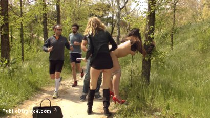 Photo number 6 from Busty Klara Gold Fucked Hard Outdoors!!! shot for Public Disgrace on Kink.com. Featuring Mona Wales, Xavi Tralla and Klara Gold in hardcore BDSM & Fetish porn.