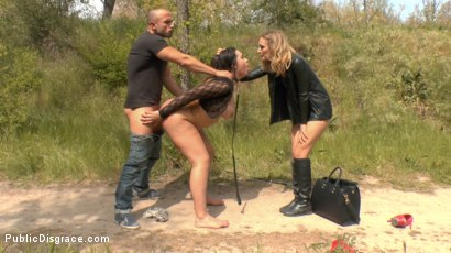 Photo number 7 from Busty Klara Gold Fucked Hard Outdoors!!! shot for Public Disgrace on Kink.com. Featuring Mona Wales, Xavi Tralla and Klara Gold in hardcore BDSM & Fetish porn.