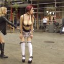 Submissive slut Zenda is fisted and fucked while a rowdy bar laughs and humiliates her