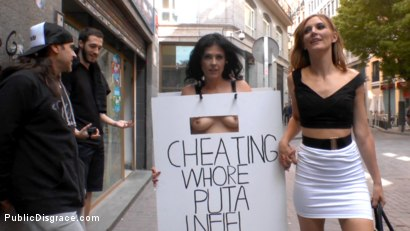 Photo number 4 from Cheating Wife's Big Hot Ass Shamed Fully Naked In Public Display shot for Public Disgrace on Kink.com. Featuring Mona Wales, Montse Swinger and Xavi Tralla in hardcore BDSM & Fetish porn.