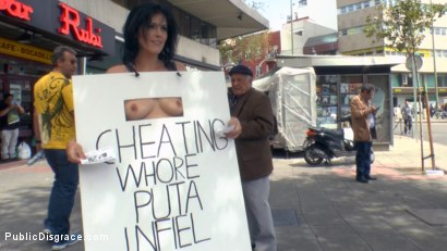 Photo number 5 from Cheating Wife's Big Hot Ass Shamed Fully Naked In Public Display shot for Public Disgrace on Kink.com. Featuring Mona Wales, Montse Swinger and Xavi Tralla in hardcore BDSM & Fetish porn.