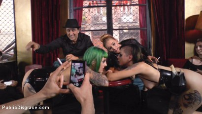 Photo number 3 from Two Slutty Whores Disgraced in Spanish Extreme Public Orgy! shot for Public Disgrace on Kink.com. Featuring Steve Holmes, Mona Wales, Satrina, Xavi Tralla and Lola in hardcore BDSM & Fetish porn.