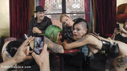 Photo number 17 from Two Slutty Whores Disgraced in Spanish Extreme Public Orgy! shot for Public Disgrace on Kink.com. Featuring Steve Holmes, Mona Wales, Satrina, Xavi Tralla and Lola in hardcore BDSM & Fetish porn.